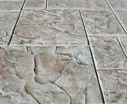 Renew Crete Stamp Overlay Mix stone like tile with multiple earth tone colors looks realistic.