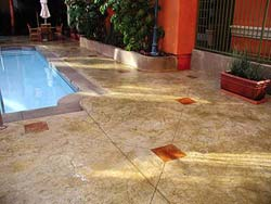 Decorative concrete control joints are most commonly accomplished by scoring and saw cutting. For aesthetic purposes, the cuts need to be only 1⁄4-inch deep, but to serve their function, they must be about 25 percent of the slab.