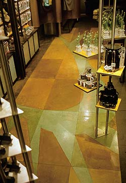 Stunning 3 dimensional stained concrete floor in a high end boutique from Ira Goldberg, Bomanite concrete contractor.