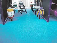 Pebble-Flex System is used in McDonald's restaurant play areas.