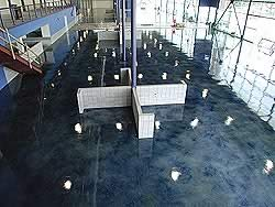 Final shot of the acrylic stained concrete in the third largest GM showroom in North America.