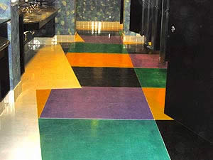 polymer-modified cement floor in a geometric bright pattern