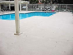 Perfect for a pool deck, Kwik-Top is a polymer modified cement specially formulated to renew concrete