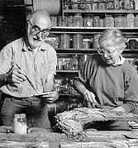 Marvin and Lilli Ann Rosenberg working with concrete