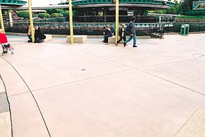 Michael Archambault concourse at Disneyland Paris, a light broom finish on a concrete walkway.