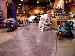 Stampable overlays work wonderful in an outdoor recreation store.