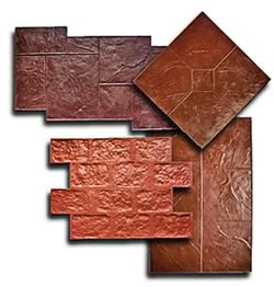 There are various types of stamps used for stamping concrete from cobble stone to brick.