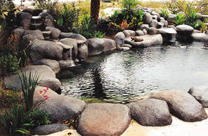 Synthetic rocks around a backyard pond.