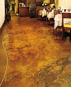 This stained floor in an upscale restaurant proves to be both durable beautiful in high-traffic areas