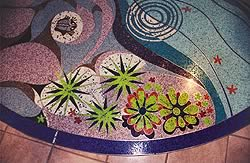 Terrazzo design can be as intricate as one wants as seen here in this floral pattern created with vibrant patterns.