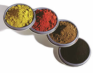 Iron oxide pigments can be synthesized in a range of pure, intense colors and are ground to find powders to provide high tinting strength.