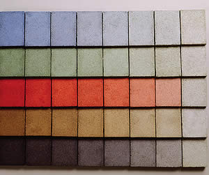 These concrete samples show the impact of pigment dosage rates.