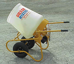Gilson's most popular model is a wheelbarrow-style mixer that will fit through a 30-inch-wide openingallowing the user to mix and pour right where the product is needed
