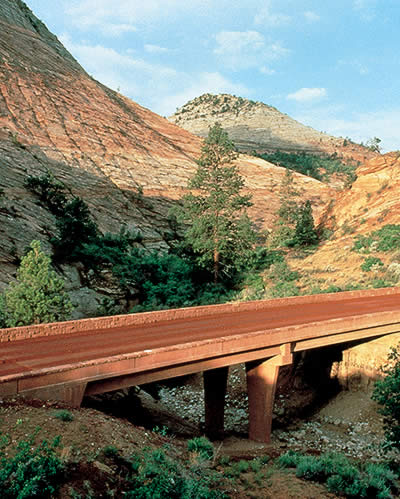 Davis Colors pigments match the colors of the earth, helping this bridge blend into the landscape at Zion National Park.