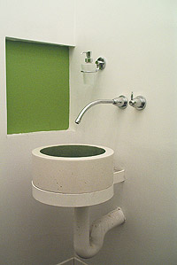 "Metakaolin - bathroom sink green square wall space. Used with white portland cement, metakaolin ""can produce beautiful opalescent finishes. Plus, the bright white metakaolin helps intensify the color we are after."