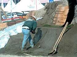 Creating a mountain out of concrete exhibit at the World of Concrete 2005