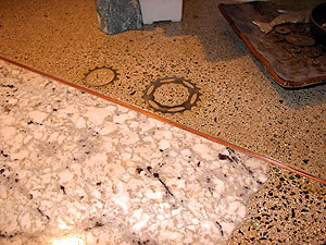 Concrete Countertop With Ground Copper And Metal Gears Using Glass As An  Aggregate In Concrete.