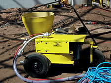 QuikShot Vertical Mix Shotcrete Machine - The QuikShot is manufactured by Quickspray Inc. to FossilCrete's specifications, and it is sold bearing the FossilCrete name.