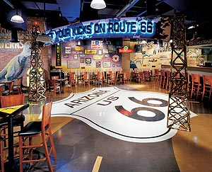 Bomanite concrete floor in restaurant - Bomanite Corporation has been a leader in the decorative concrete industry for more than half a century. The Bomanite process for stamping cast-in-place concrete was developed in the mid-1950's by Brad Bowman.