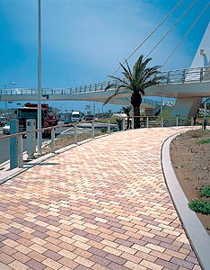 Photocatalysts are used in Japan to keep paving, like these concrete unit pavers, clean and to reduce the effect of air pollution.