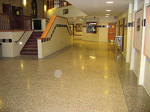 Terrazzo Floor in a public setting one white rock is so bright that it actually lowered lighting costs for three grocery stores in Washington