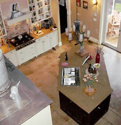 Decorative Concrete Home kitchen viewed from above with a trapezoid shaped concrete countertop.