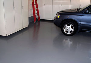 Garage Floor Coating Behr's 1-Part Epoxy Acrylic Concrete & Garage Floor Paint produces a finish that is highly resistant to chemicals, oil and gasoline, making it an ideal choice for interior or exterior concrete floors that are hard to keep clean.