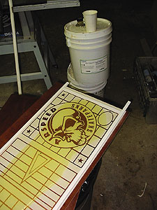 2. Pour Urethane to create a custom stamp for concrete.