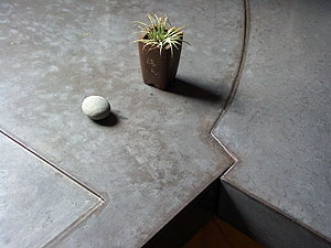 Seams can be incorporated into concrete countertop for visual appeal.