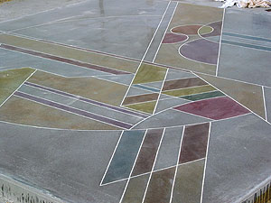 Test slab of concrete has been polished and dyed to create this geometric futuristic design.