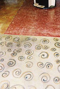 Soy-based Concrete Stains can be used to make artistic swirls on a concrete floor.
