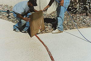 Applying Concrete Sealer with an airless sprayer as a man holds a shield up to protect the plants from the sealer overlay.