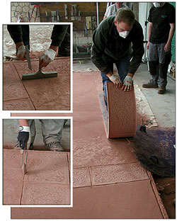 Stamping concrete expert Dave Blasdel show how to stamped color hardened concrete
