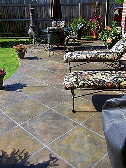 This patio was colored with dye-stains. Photo courtesy of Smith Paints