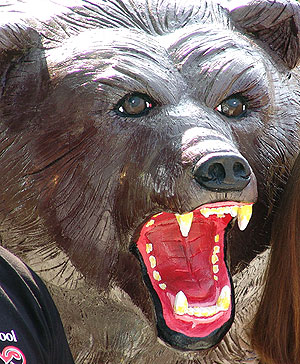 Life sized angry grizzly bear concrete sculpture