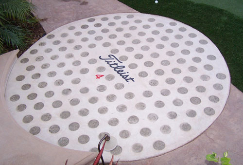This particular decorative concrete project was for the side yard of a repeat customer, an avid golfer.