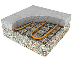 Radiant Heating - Cutaway illustration of snow-melt application.