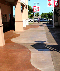 Free-form saw cuts complement the colors and update the look of the mall.