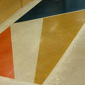 polished concrete floor sample with color added for dramatic effect
