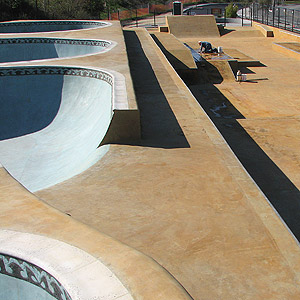 The skate park is the first to have every concrete surface colored with acid stain.