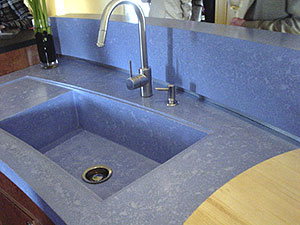 Blue concrete countertio sink