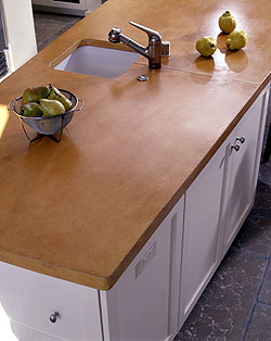 Large orange concrete countertop