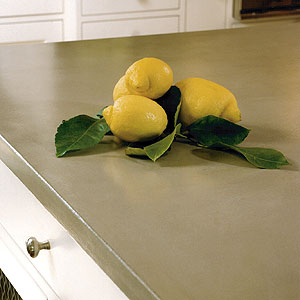 Gray-brown Concrete countertop with fruit on it,