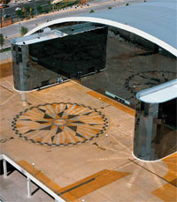 Stained concrete compass outside the Arena Monterrey