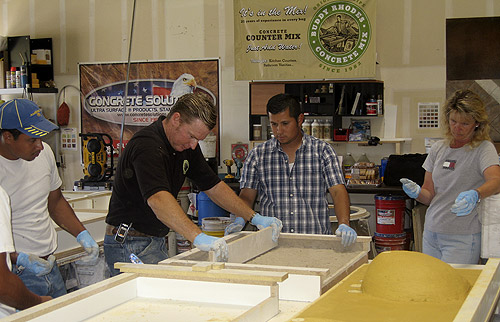 Buddy Rhodes Concrete Training class creating custom precast concrete countertops.