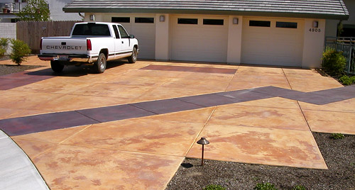 A Driveway Acid Stained Using Two Stain Colors Notice How Splotchy Spots Show Through