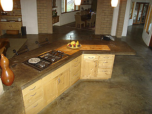 Kitchen island has a concrete countertop made with Quikrete Countertop Mix
