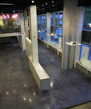 The floor has been completed and is ready for use. Polished concrete is a great option for high-traffic, high-end look.