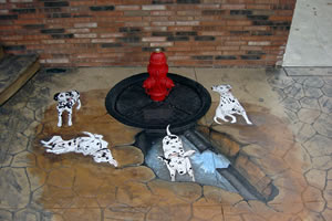 These homeowners also wanted something special out front: another water feature, to commemorate their beloved Dalmatians.