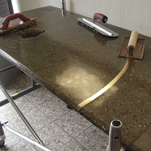 In process shot of a concrete countertop.